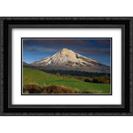 Mount Taranaki, western flanks, New Zealand 2x Matted 24x18 Black Ornate Framed Art Print by Norton, Ned