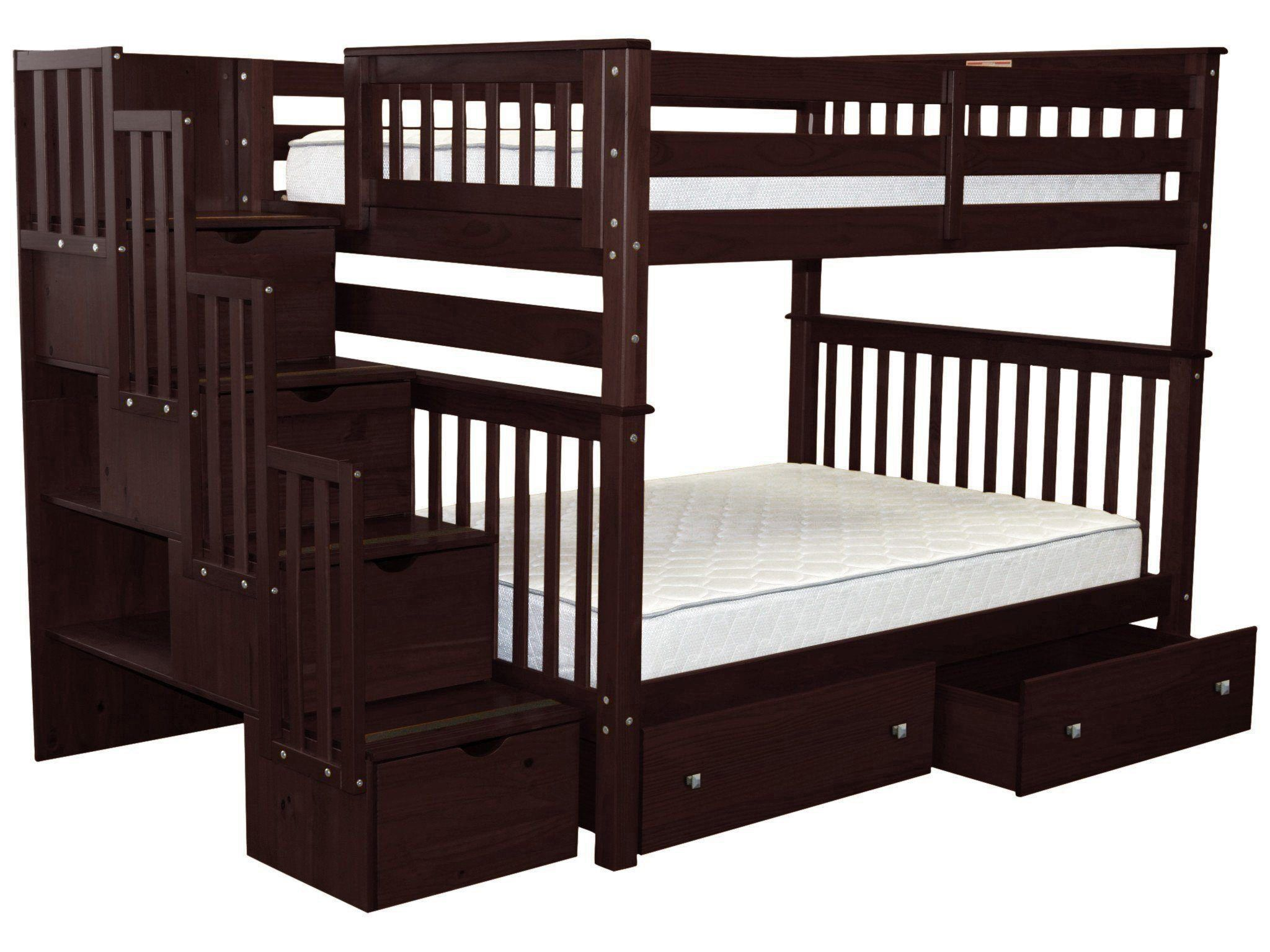 Bedz King Stairway Bunk Beds Full Over Full With 4 Drawers In The Steps And 2 Under Bed Drawers Cappuccino Walmart Com Walmart Com