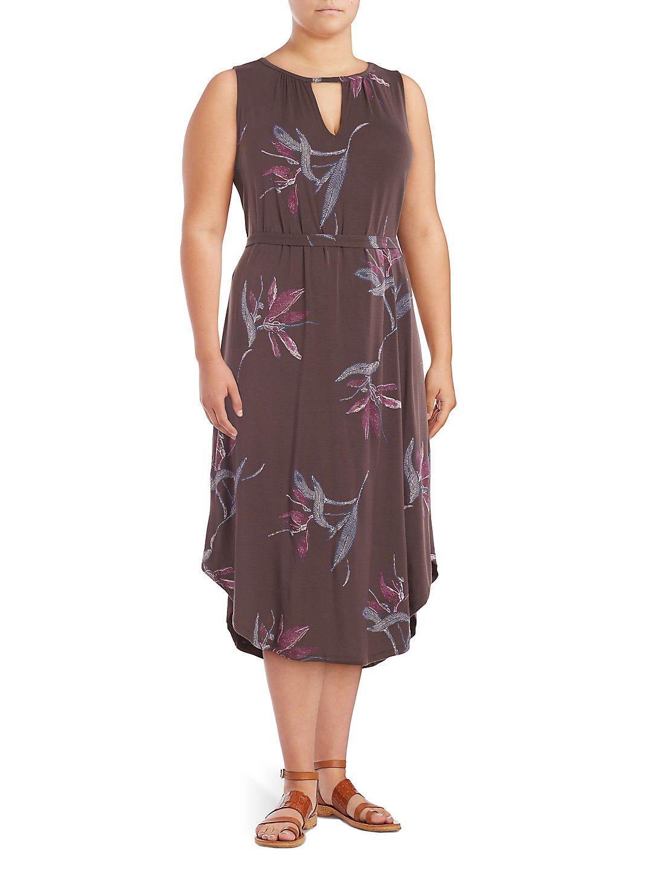 Plus Sleeveless Printed Keyhole Dress