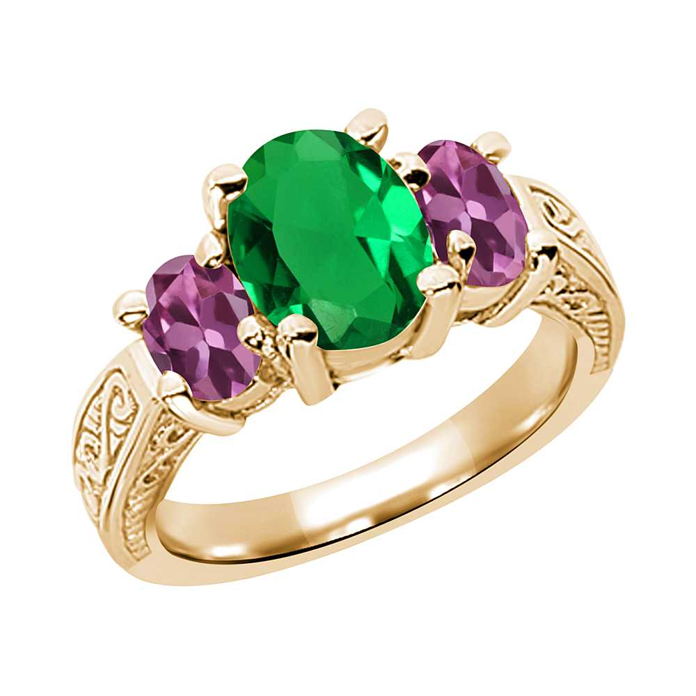 3.30 Ct Oval Green Nano Emerald Pink Tourmaline 18K Yellow Gold 3-Stone Ring by