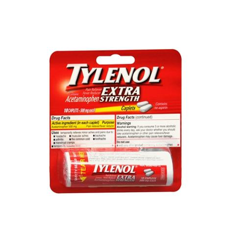 TYLENOL Extra Strength Caplets 10 ea (Pack of 6)