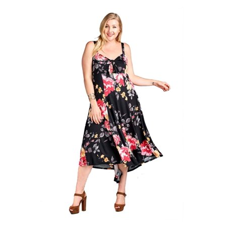 Plus Size Floral High Low Maxi Dress with Peek-a-Boo Neckline and Self-Tie Bow Detail Made in USA - 3X (Peep Dress)