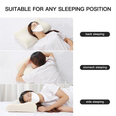 Sleep Contoured Memory Foam Pillow Neck Support Pillow Standard Size 50 x 30 x 12/10cm - image 3 de 8