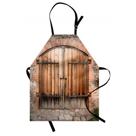 Rustic Apron Wooden Door of a Stone House with Wrought Iron Elements Tuscany Architecture Photo, Unisex Kitchen Bib Apron with Adjustable Neck for Cooking Baking Gardening, Brown Grey, by -