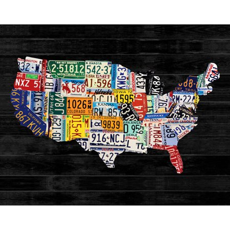 Usa license map canvas art wall decor 28x22 for Walmart art decor