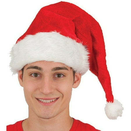 Santa Claus Hat Plush Velvet Red Costume Accessory With Fur Deluxe Quality](Beekeeper Hat Costume)