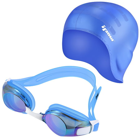 Swimming Goggles & Cap Set, IPOW 100% Silicone Swim Cap Hat with Ear Cups, Anti-Fog Waterproof Swim Goggle Glasses Swimming Hat Cap for Adults Long Hair Women Men Kids Girls Boys Youth Children, Blue