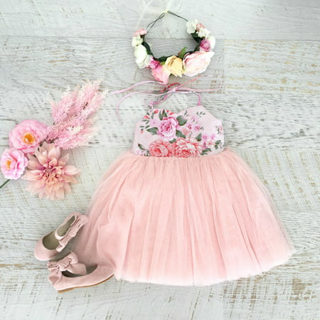 Toddlers Baby Girls Kid Summer Princess Wedding Party Tulle Dress Skirt Sundress Pink 2-3 Years](Kid Girl Dresses)