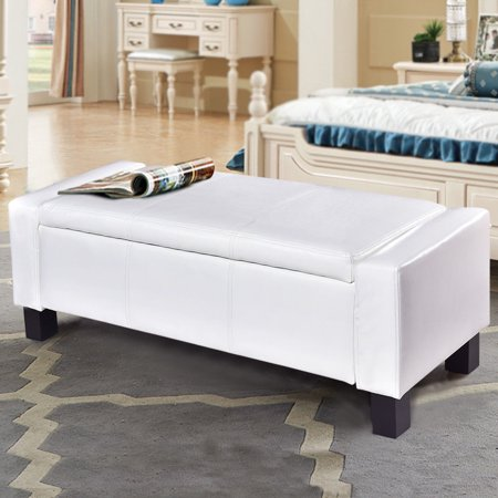 PU Leather Ottoman Bench Storage Chest Footstool Organizer Chair Furniture White