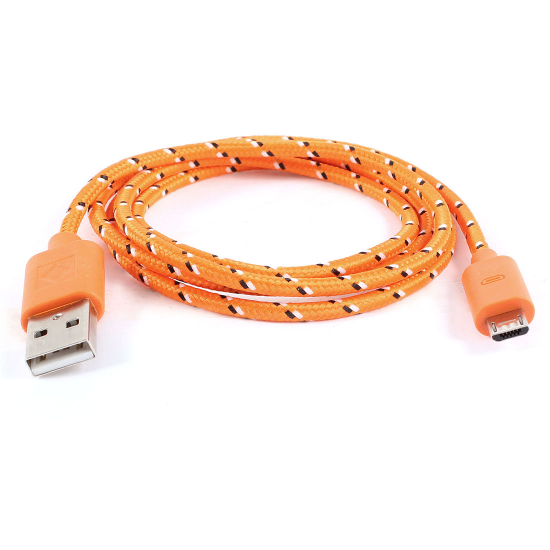Unique Bargains 1M Extension USB Data Charge Cable Braided Cord Orange for Motorola V8