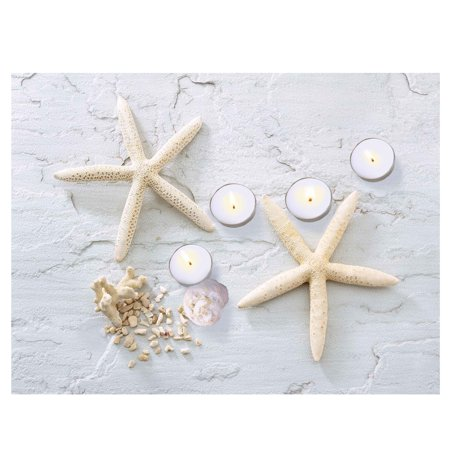 LED Lighted Starfish, Seashell and Tea Light Candles Canvas Wall Art 11.75