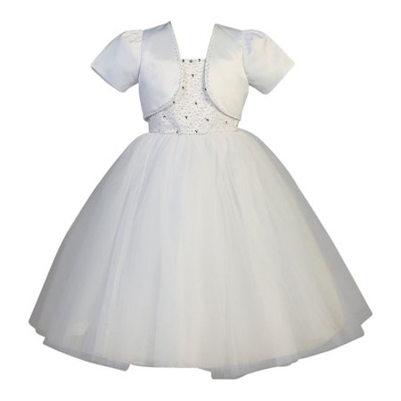 Girls White Beaded Satin Tulle Bolero Holly Communion Dress](Holly Golightly Dress)