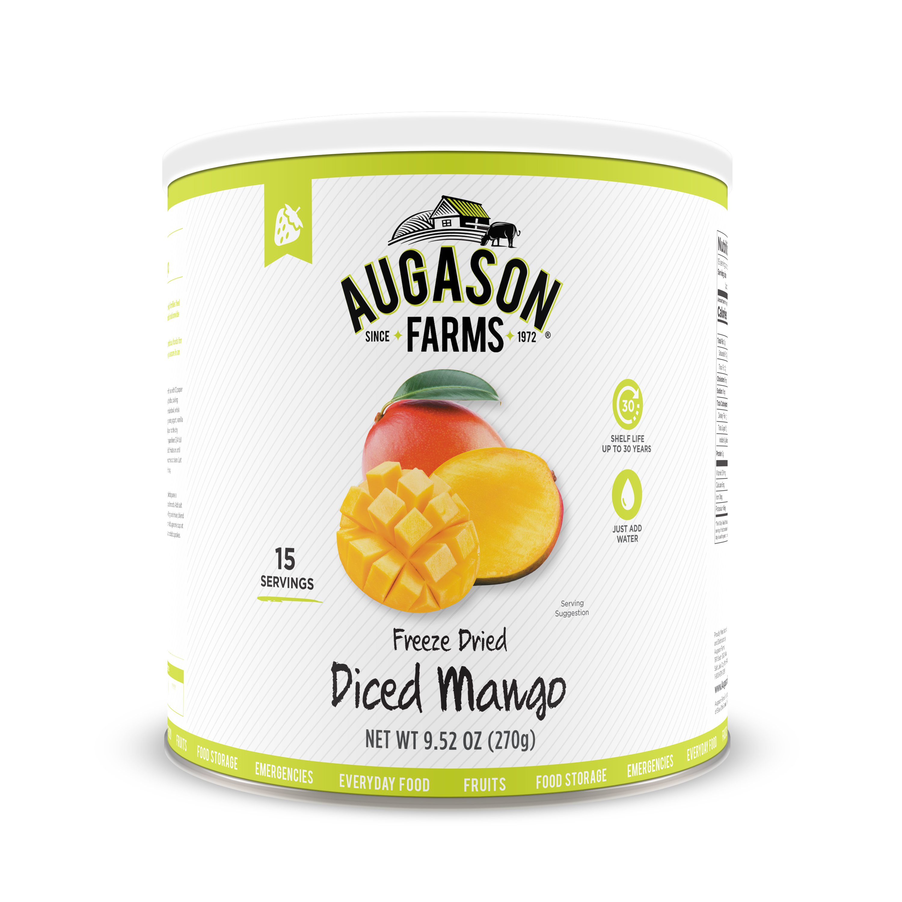 Augason Farms Freeze Dried Diced Mango 9. 52 oz No. 10 Can