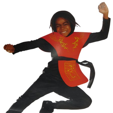 Boys Ninja Halloween Costume Shirt with Hood Foam Chest Piece Pants & - Ninja Sash