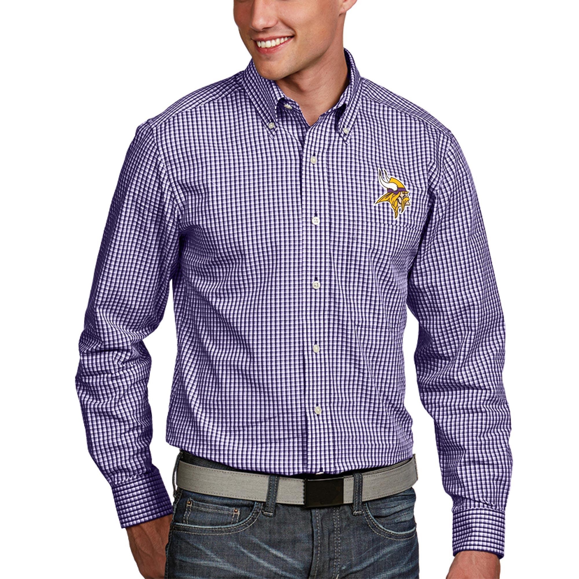 Minnesota Vikings Antigua Associate Woven Long Sleeve Button-Down Shirt - Purple