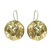 Gold Tone Nature Themed Dangle Earrings