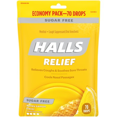 Halls Sugar Free Honey Lemon Cough Suppressant/Oral Anesthetic Menthol Drops 70 ct (Cough Medicine For Dogs With Kennel Cough)