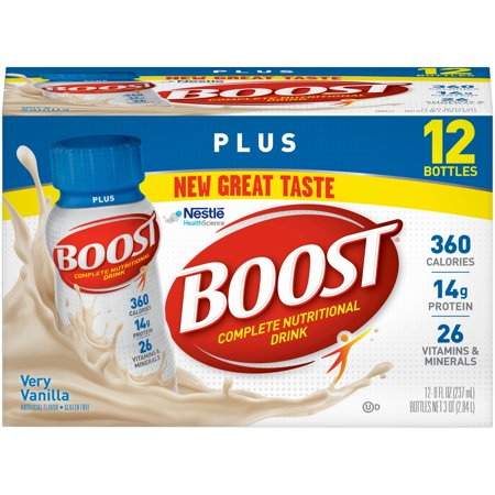 Boost Vanilla Vitamins - Boost Plus Complete Nutritional Drink, Very Vanilla, 8 fl oz Bottle, 12 Count