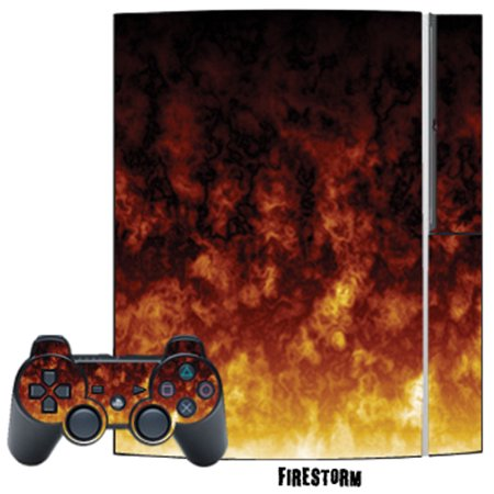Mightyskins Protective Skin Decal Cover Sticker for Playstation 3 Console + two PS3 Controllers - Burning Skull ()