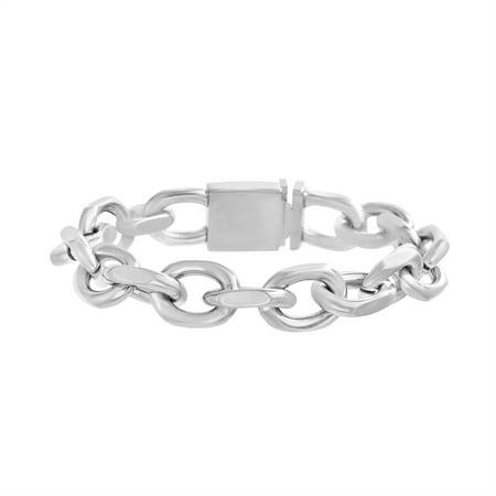 Mens Rolo Chain Link Bracelet in Stainless Steel