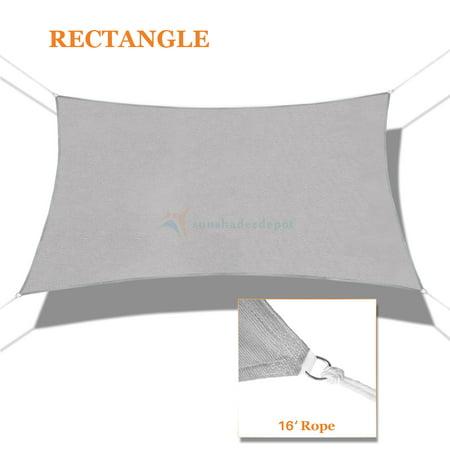 Sunshades Depot 9' x 15' Sun Shade Sail Rectangle Permeable Canopy Light Gray / Light Grey Custom Size Available Commercial Standard