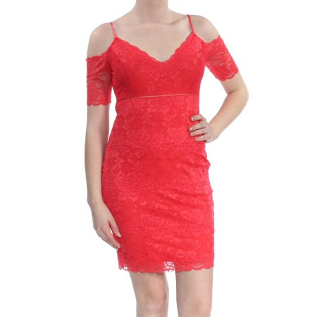 GUESS Womens Red Lace Cold Shoulder Short Sleeve V Neck Above The Knee Party Dress  Size: (80's Leg Warmers)