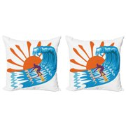 Summer Throw Pillow Cushion Cover Pack of 2, Beach Theme Hot Vibes Surfing Sport Sea Ocean Waves Sun Image Poster, Zippered Double-Side Digital Print, 4 Sizes, Sky Blue Orange, by Ambesonne