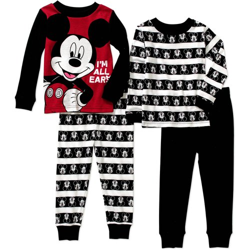 Mickey Mouse Toddler Boy Cotton Tight Fit Pajamas 4pc Set