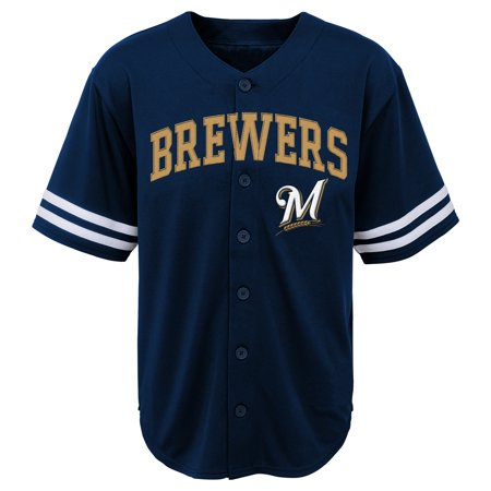 MLB Milwaukee BREWERS TEE Short Sleeve Boys Fashion Jersey Tee 60% Cotton 40% Polyester BLACK Team Tee (14 Milwaukee Brewers Jersey)