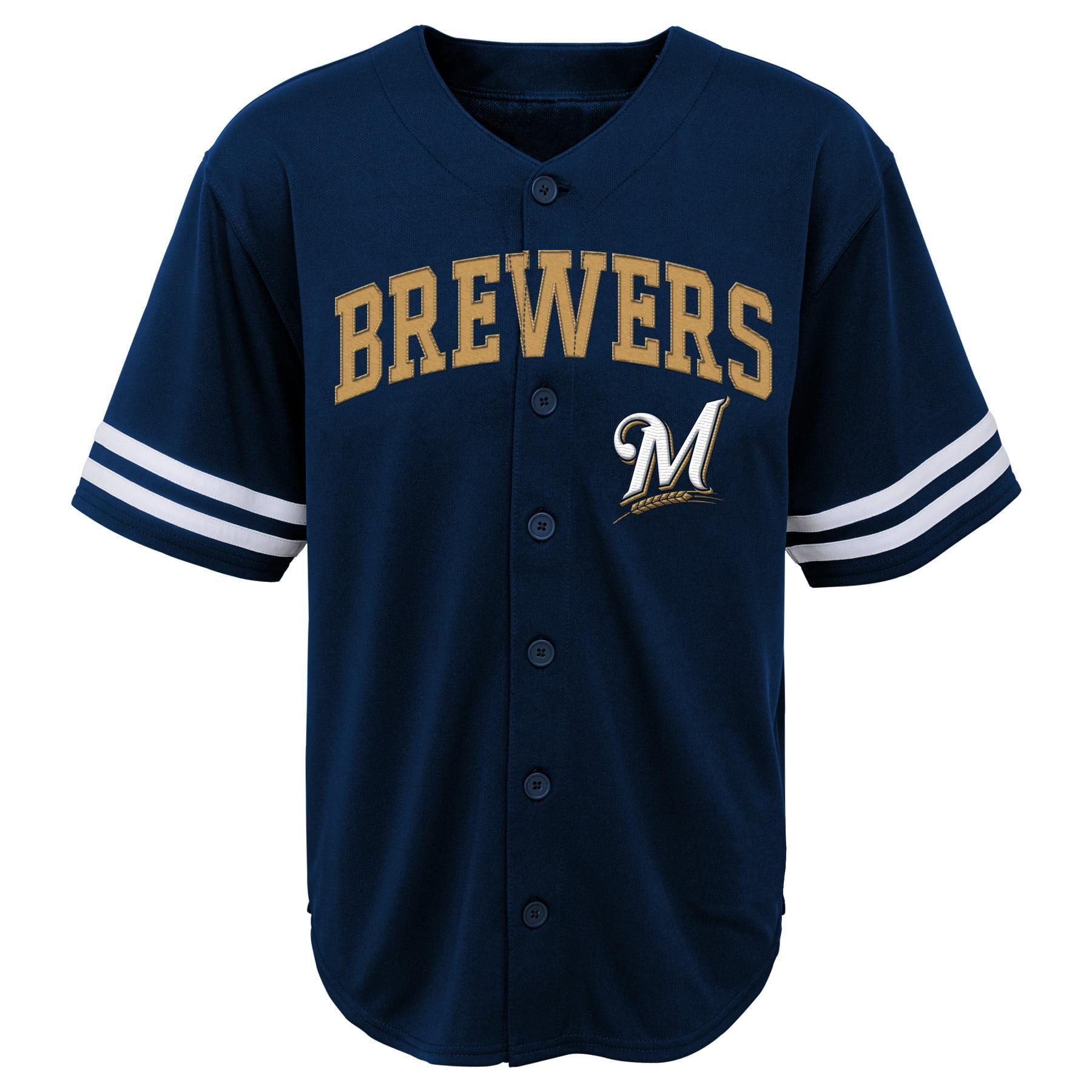 MLB Milwaukee BREWERS TEE Short Sleeve Boys Fashion Jersey Tee 60% Cotton 40% Polyester BLACK Team Tee 4-18