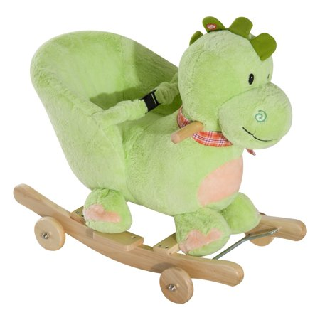 Qaba 2-in-1 Plush Dinosaur Kids Ride On Cart / Rocking Horse Toy with Sounds for $<!---->