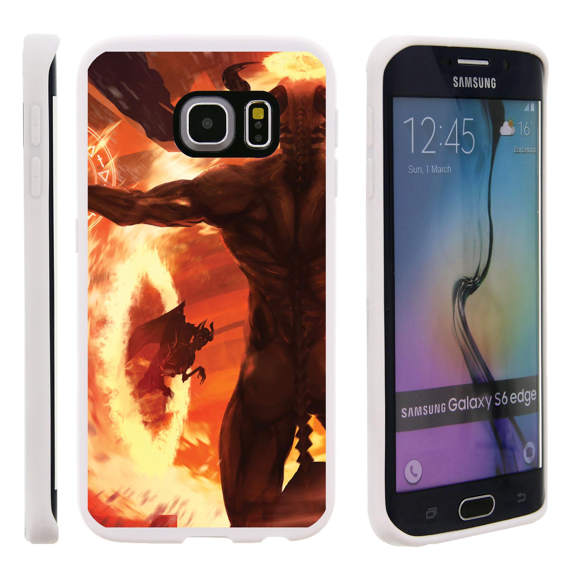 Samsung Galaxy S6 Edge G925, Flexible Case [FLEX FORCE] Slim Durable TPU Sleek Bumper with Unique Designs - Demons and Flames