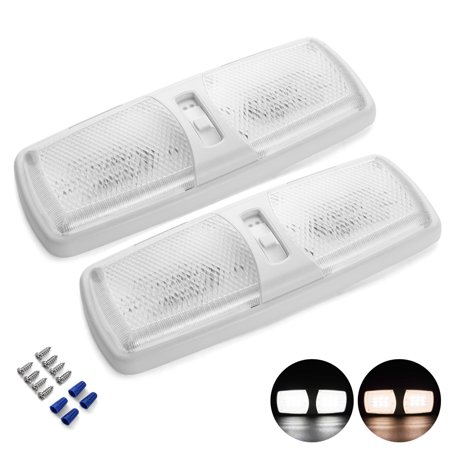 MICTUNING 2 Pack 12V LED RV Ceiling Light, 2 Colors White Color with Swtich Dome Interior Light (Natural/Warm White) (Led Vehicle Light)
