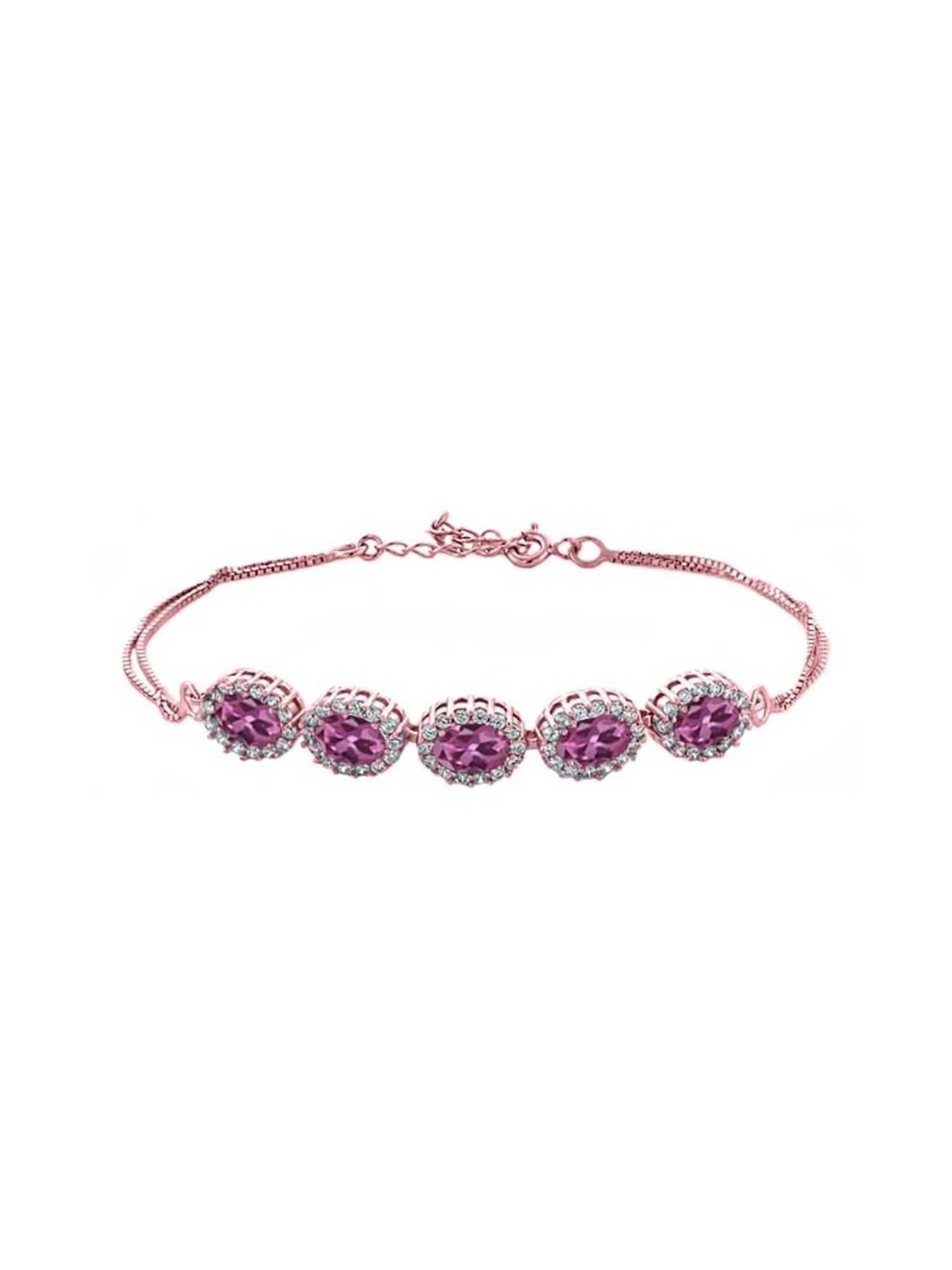 5.29 Ct Oval Pink Tourmaline 18K Rose Gold Plated Silver Bracelet by