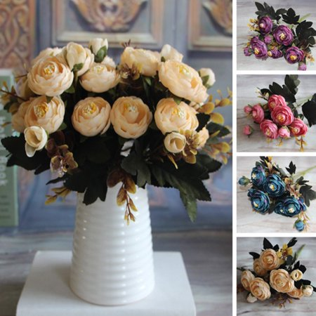 Heepo 1 Bouquet Artificial Tea Rose Faux Silk Cloth Flowers Hotel Room Wedding Decor (Turquoise Silk Flowers)