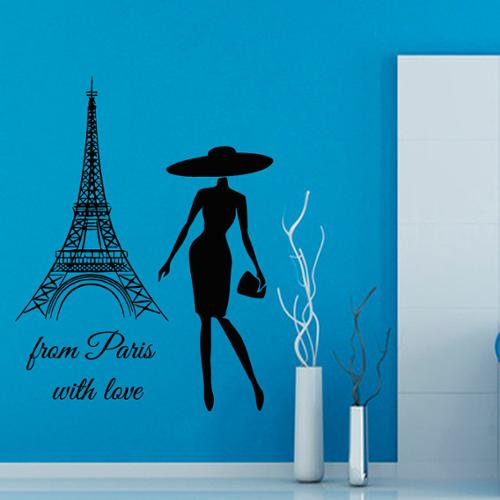 From Paris with Love Quote Vinyl Sticker Wall Art