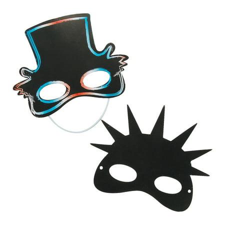Fun Express - Patriotic Magic Scratch Masks for Fourth of July - Craft Supplies - Magic Scratch - Shapes & Paper - Fourth of July - 24 (Patriotic Masks)