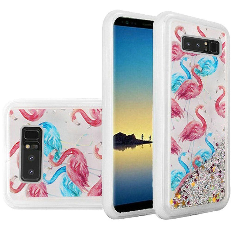 HR Wireless Quicksand Flamingo Glitter Hard Plastic/Soft TPU Rubber Case Cover For Samsung Galaxy Note 8, Multi-Color