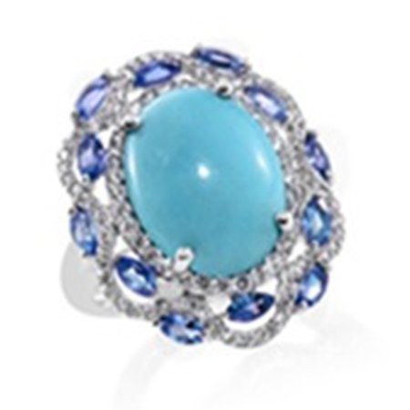 925 Sterling Silver Oval Sleeping Beauty Turquoise Multi Gemstone Halo Solitaire Ring for (Sterling Silver Turquoise Stone Ring)