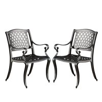 Naples Cast Aluminum Outdoor Dining Chairs, Set of 2, Black Sand