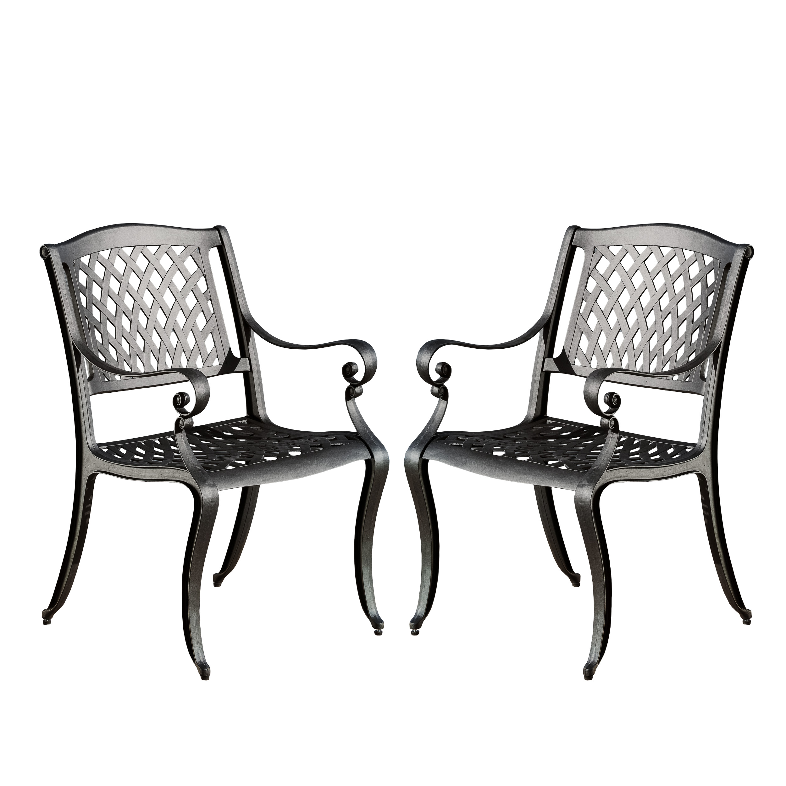 Noble House Black Sand Cast Aluminum Outdoor Chairs (Set Of 2)