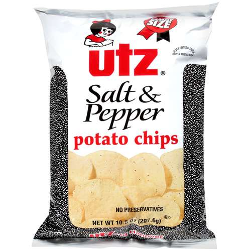 Utz Salt & Pepper Potato Chips, 9.5 Oz.