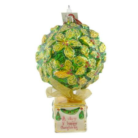 (Christopher Radko VERY MERRY TOPIARY Glass Ornament Holly Bush Christmas)