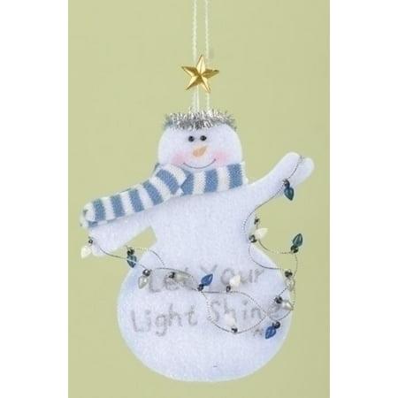 Let Your Light Shine Inspirational Snowman Christmas Ornament (Snowman Christmas Ornaments)