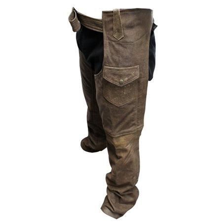 Perrini Men's Fashion Motorbike Cowhide Motorcycle Leather Chaps Brown Color Lined