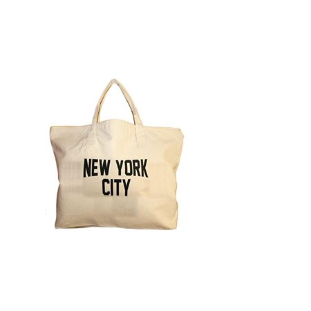NYC Zippered Tote Bag 100% Cotton Canvas New York City Beach Shopping Gym by NYC FACTORY