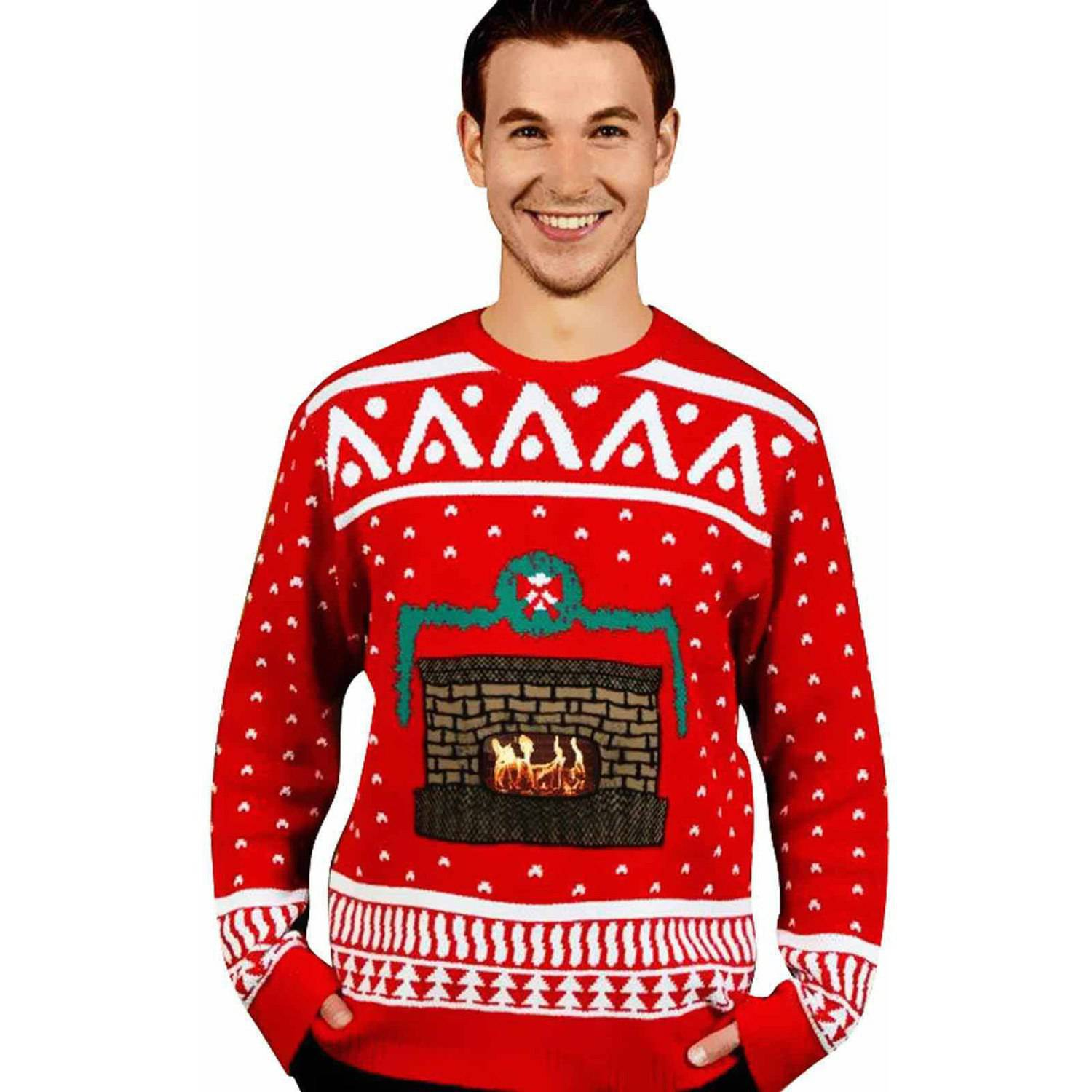 Knit Crackling Fireplace Ugly Christmas Sweater Men's Adult ...