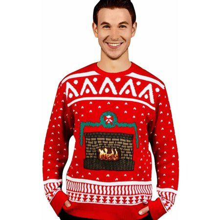 Knit Crackling Fireplace Ugly Christmas Sweater Men's Adult Halloween Costume