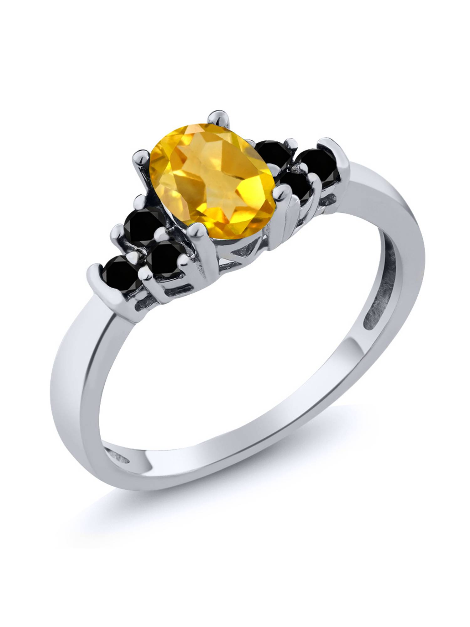 Solitaire Engagement Ring Yellow Engagment Ring Unique Engagement Ring Classic Oval Yellow Citrine Sterling Silver Engagement Ring