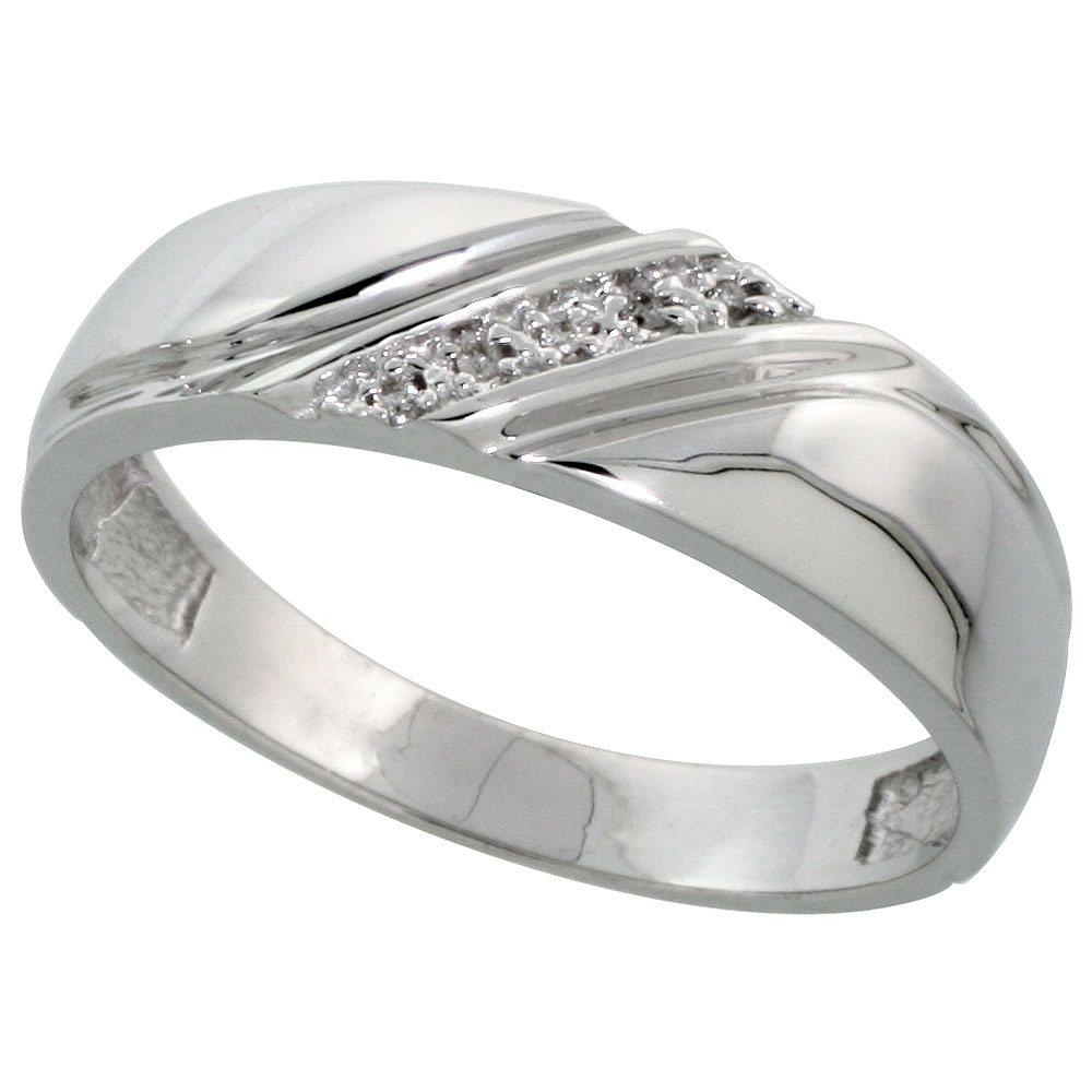 Sterling Silver Men S Diamond Wedding Band Rhodium Finish 1 4 Inch Wide